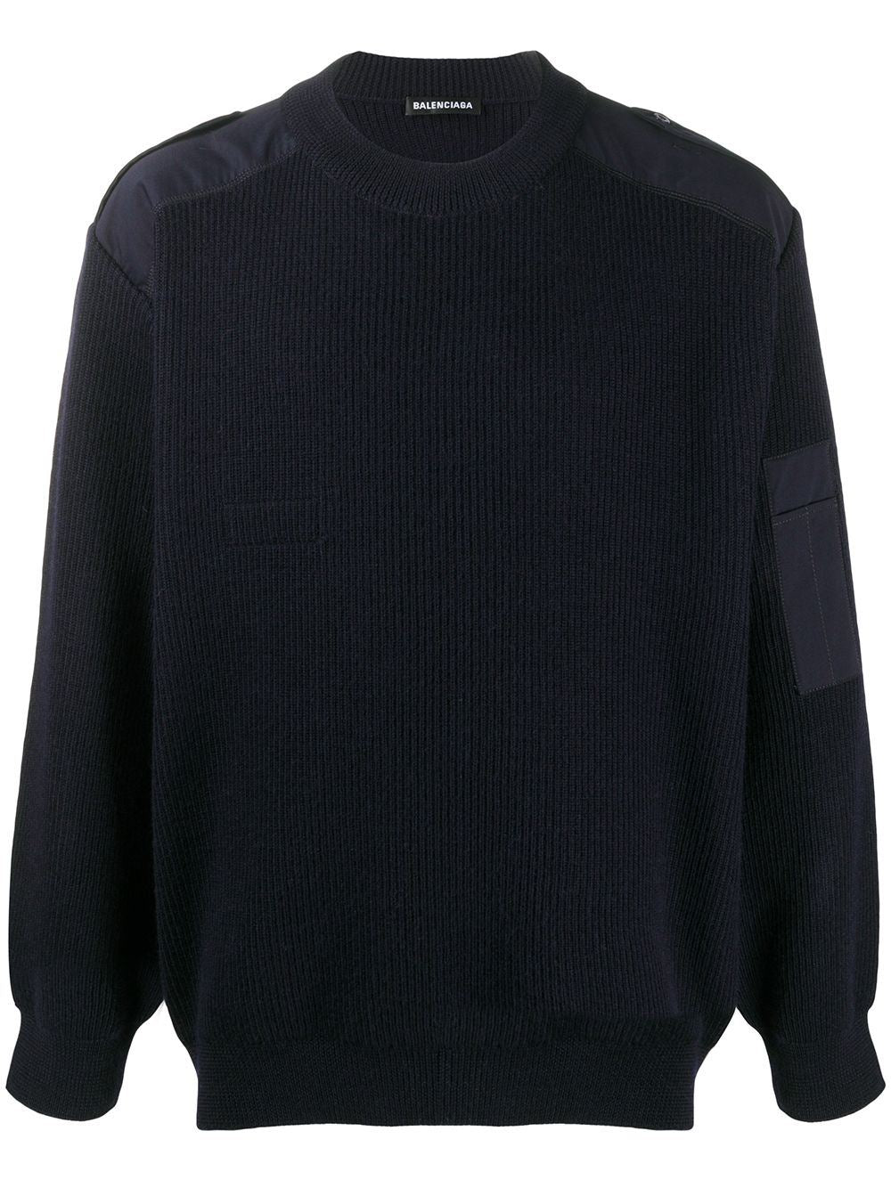 BALENCIAGA logo knitted sweatshirt navy - Maison De Fashion