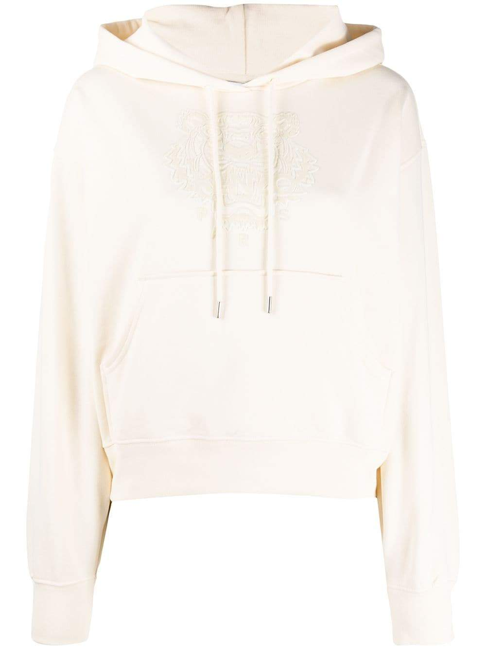 KENZO WOMEN Flock Tiger Logo Hoodie Cream
