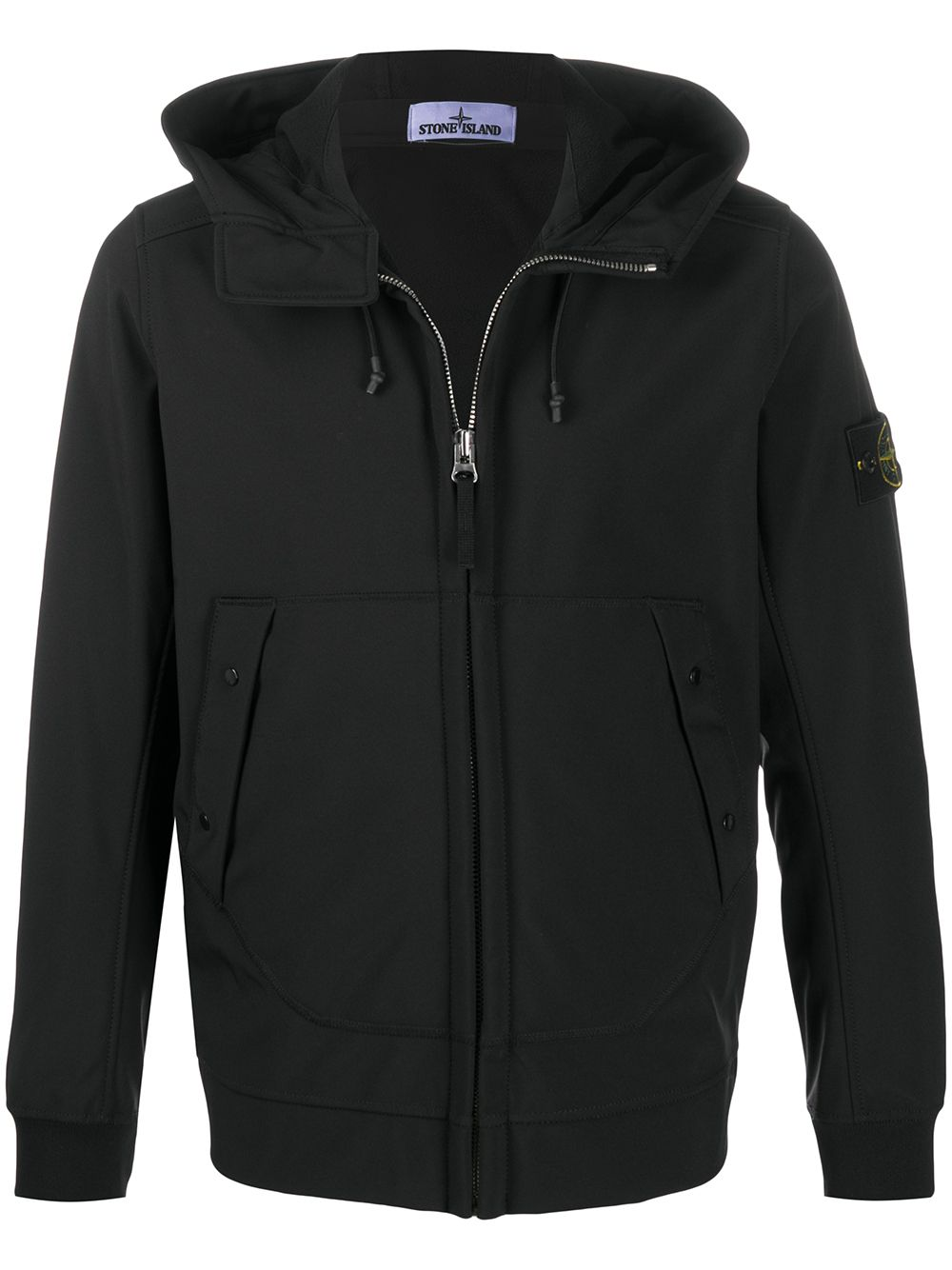 Stone Island compass badge hooded jacket black