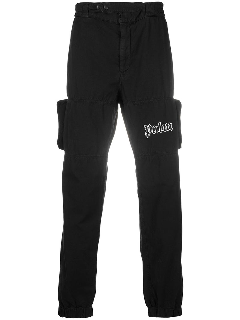 PALM ANGELS logo cargo pants black