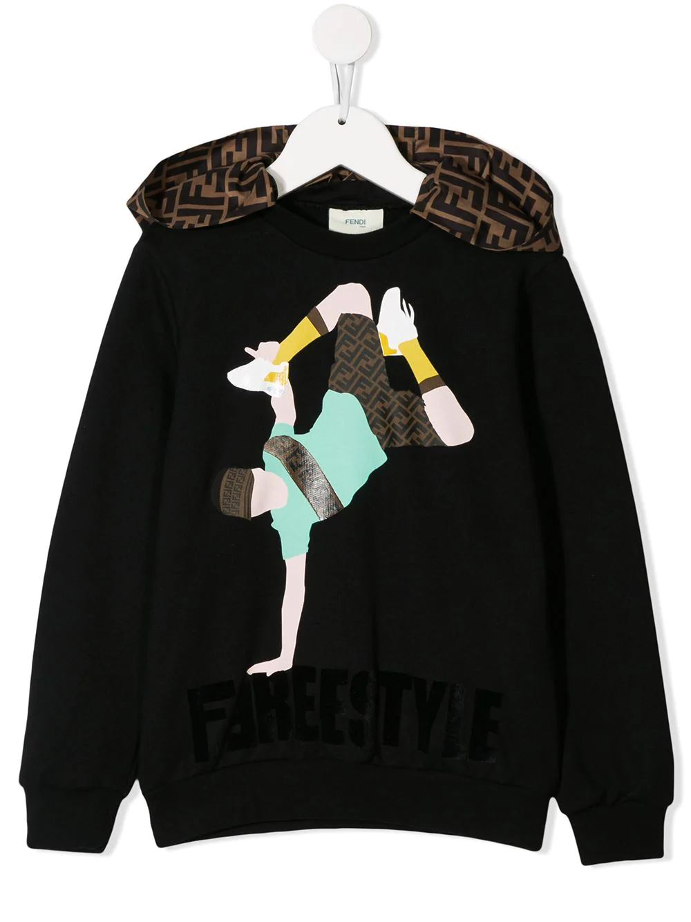 FENDI KIDS dancer print hoodie black - Maison De Fashion