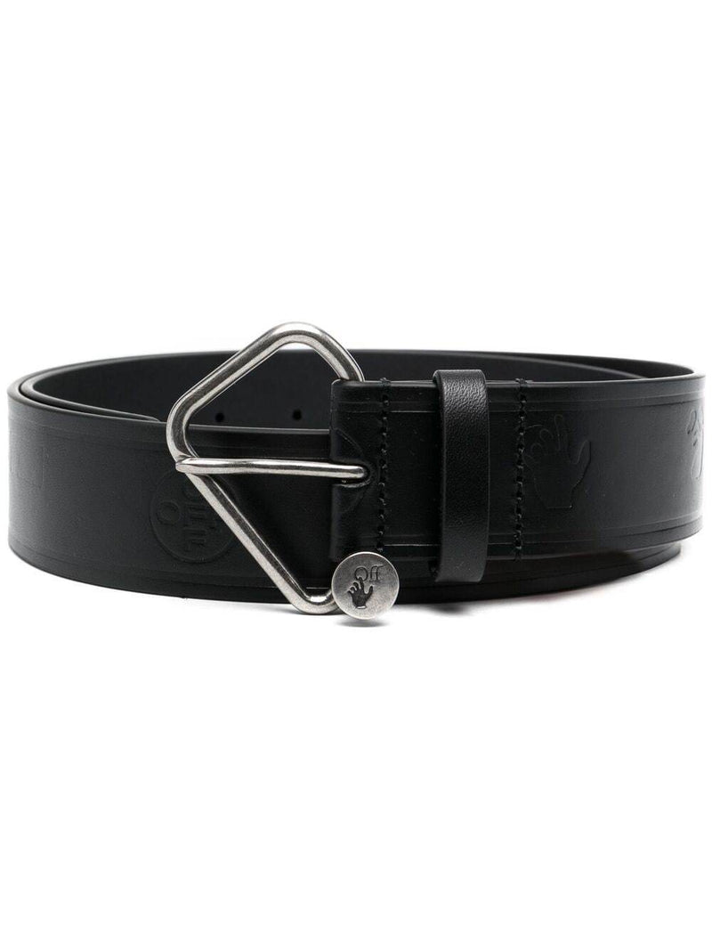 OFF-WHITE Logo Embossed Logo Leather Belt