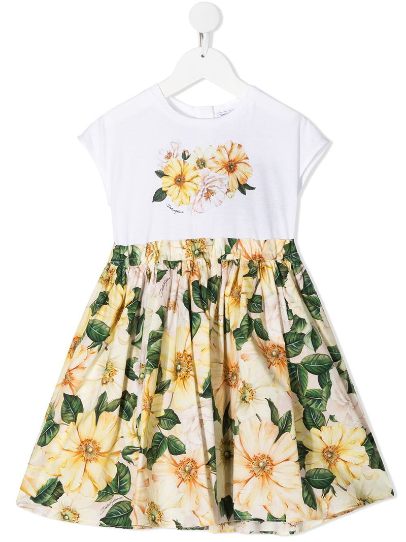 DOLCE & GABBANA KIDS Floral-print dress White/Yellow