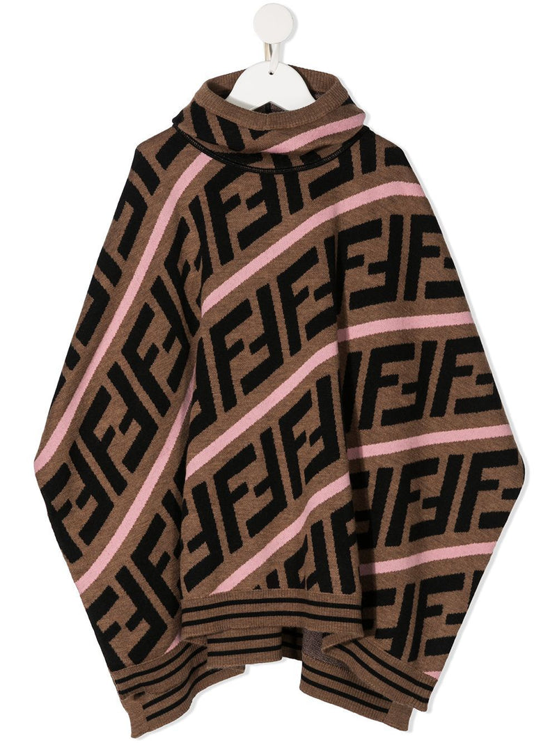 FENDI KIDS FF Monogram Poncho Brown