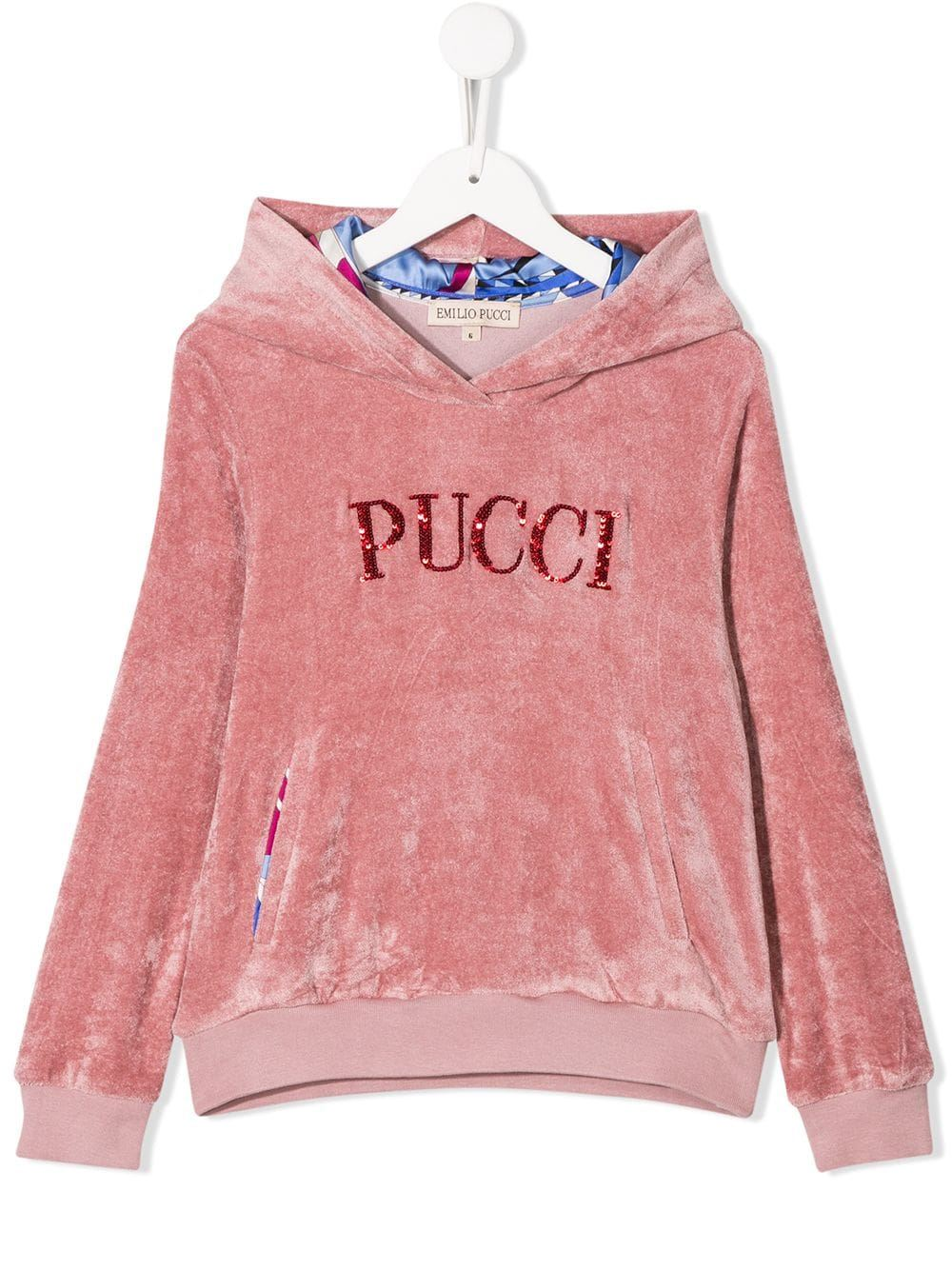EMILIO PUCCI JUNIOR sequinned logo hoodie - Maison De Fashion