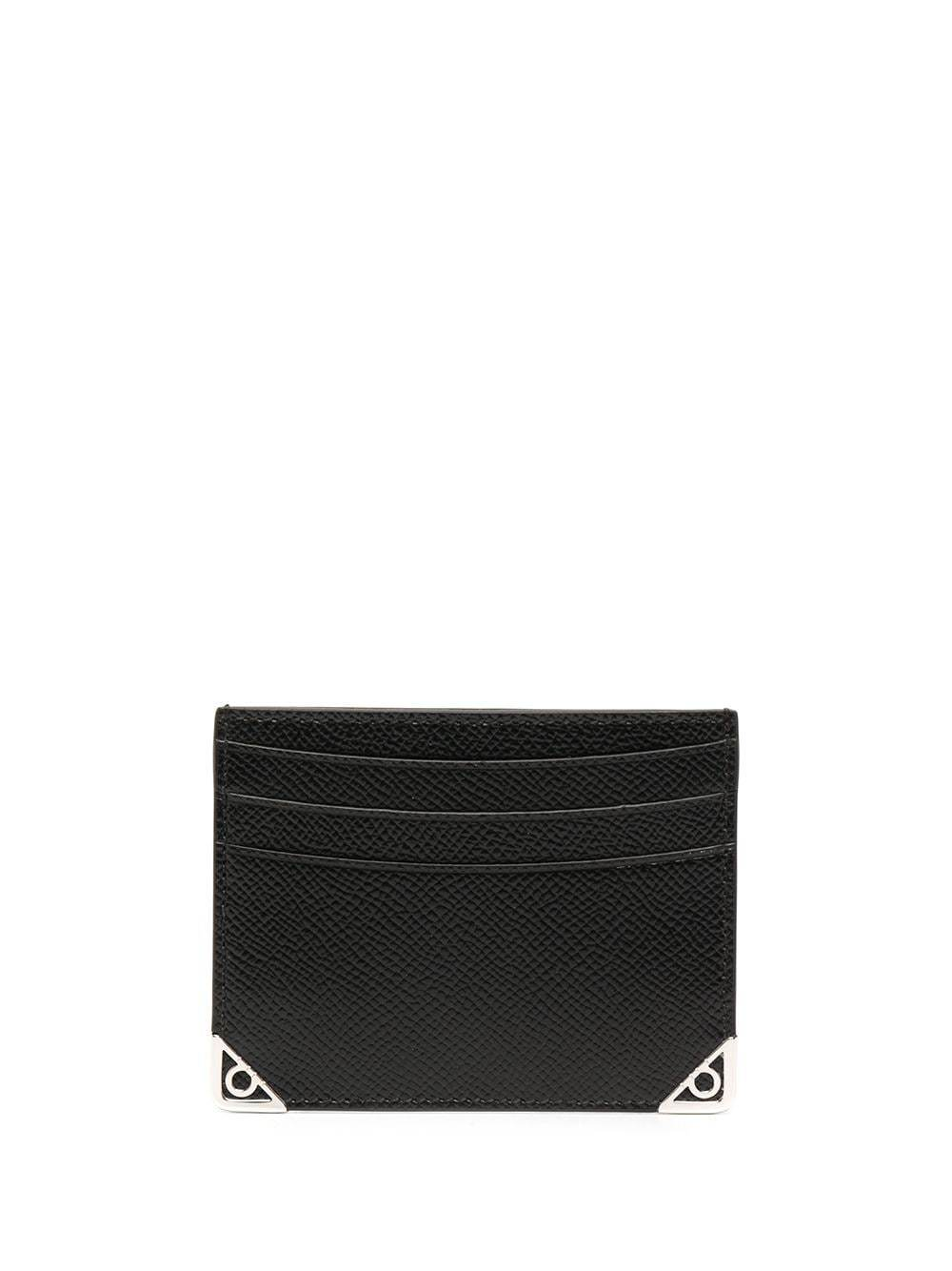 SALVATORE FERRAGAMO Gancini Corner Detail Card Holder Black