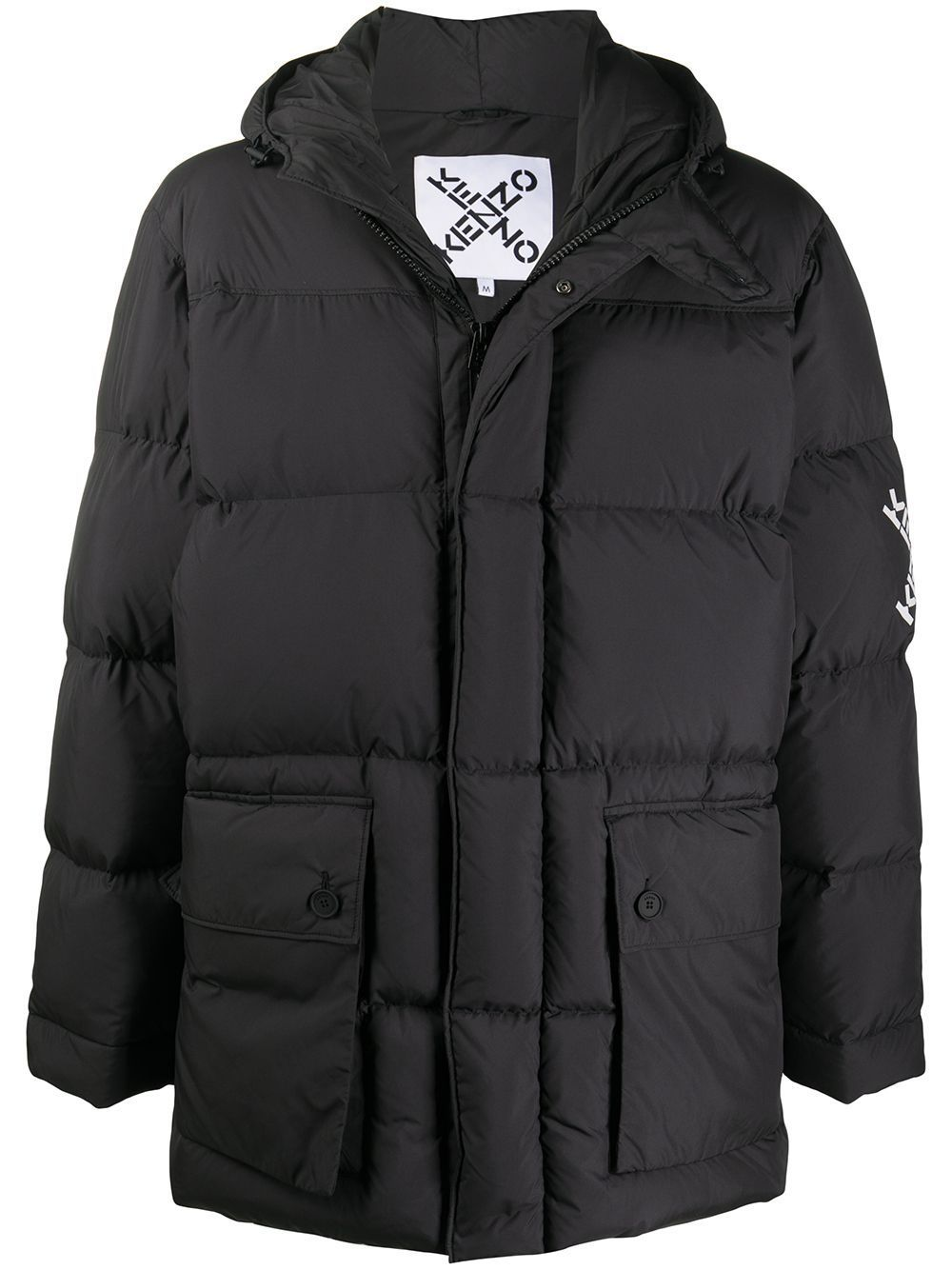 KENZO Logo Cross Parka Padded Coat Black