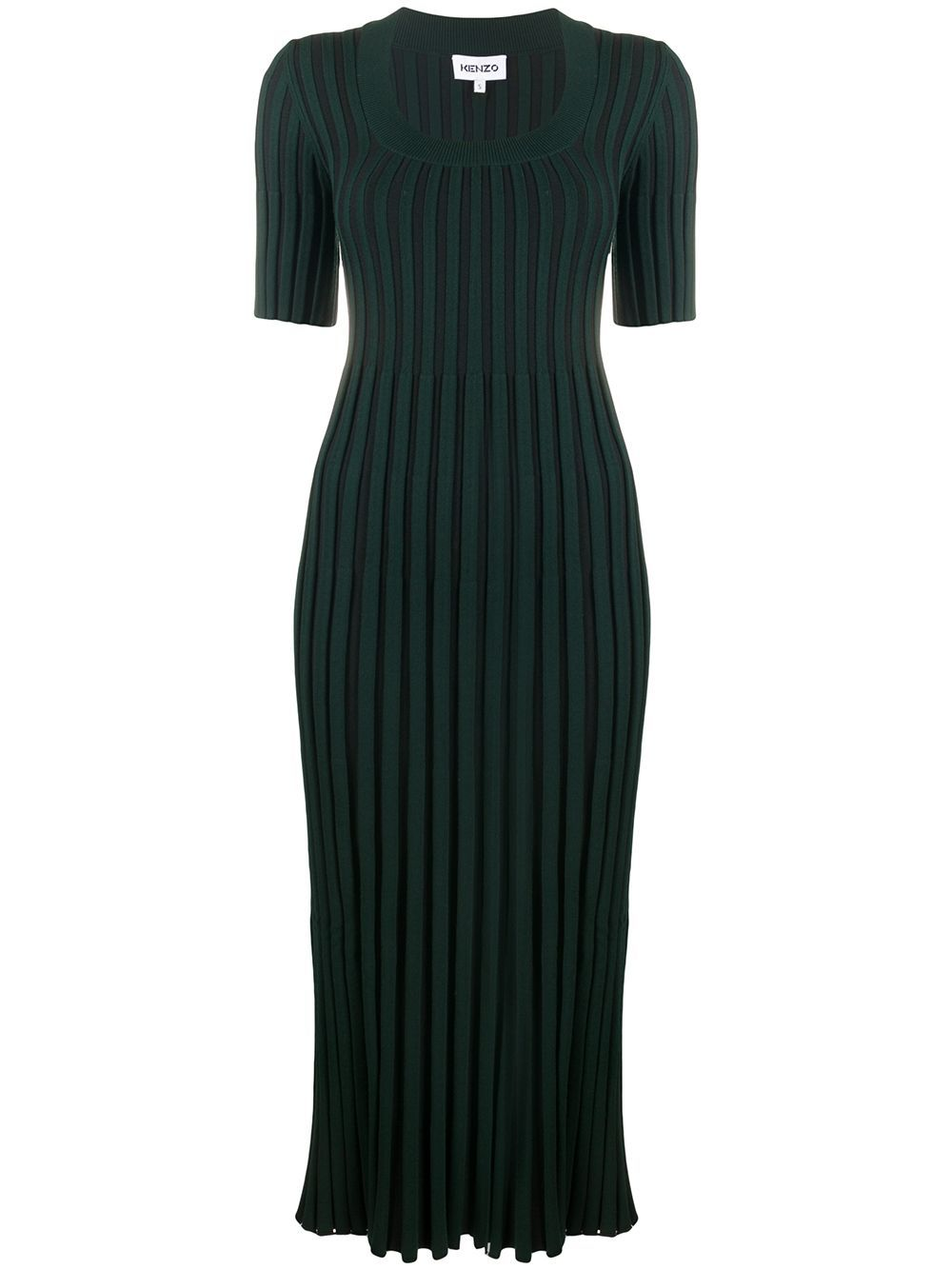 KENZO WOMEN Pleated Ribbed Dress Dark Green