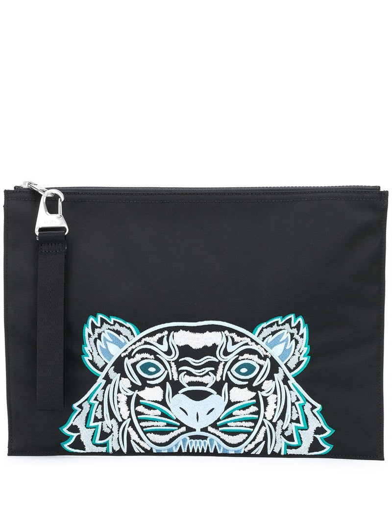 Kenzo Canvas Tiger Embroidered Pouch Black
