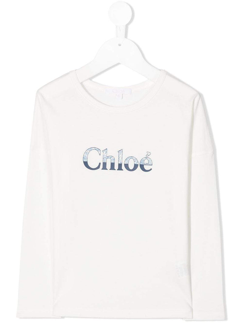 CHLOÉ KIDS Print Logo T-Shirt White - Maison De Fashion
