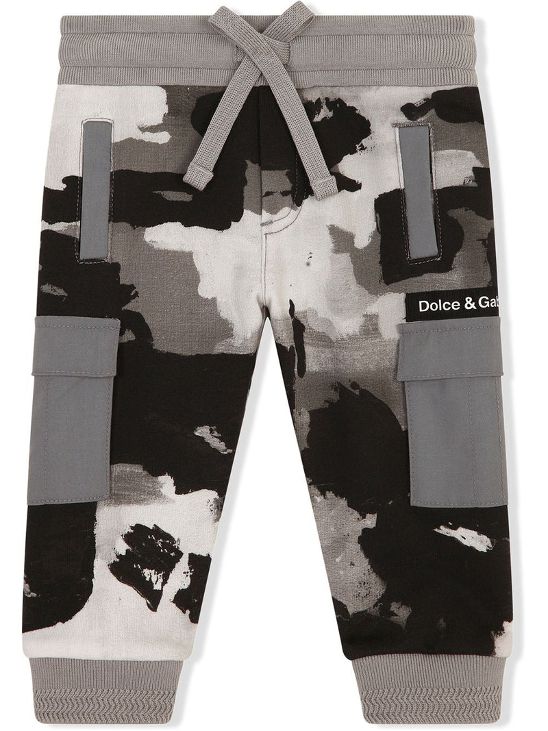 DOLCE & GABBANA BABY Camouflage-print track pants Grey