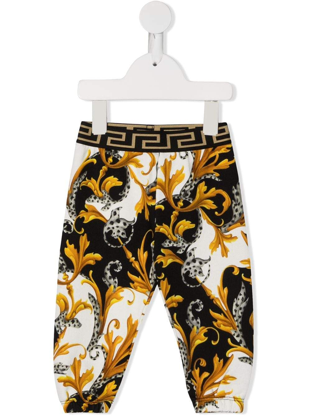 VERSACE KIDS Baby Baroque Print Waistband Leggins White/Gold - Maison De Fashion