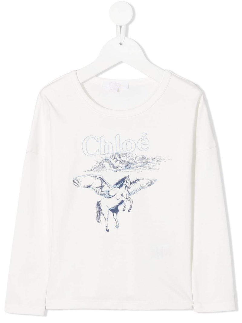 CHLOÉ KIDS Unicorn Print T-Shirt White - Maison De Fashion