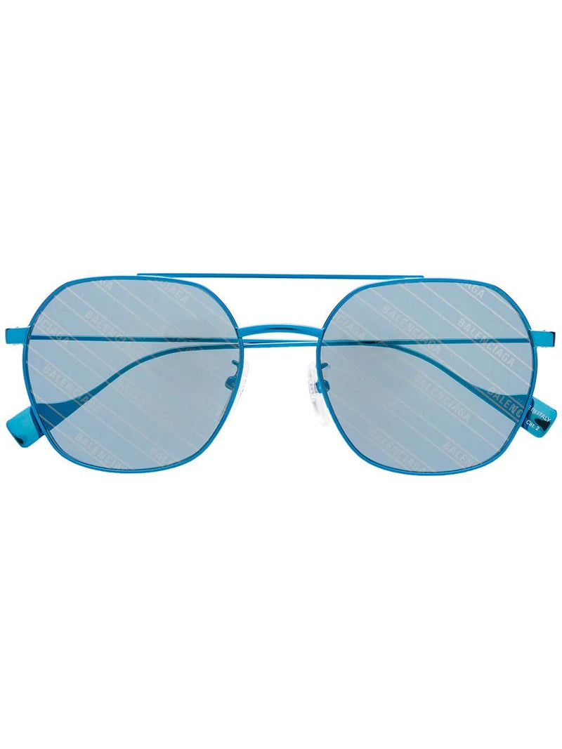 BALENCIAGA logo ghost sunglasses blue - Maison De Fashion