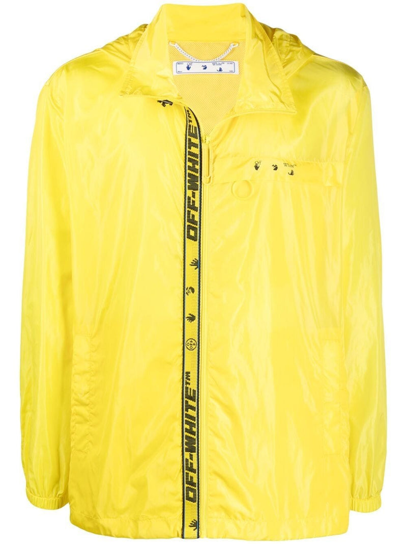 OFF-WHITE Logo Print Zip Up Windbreaker Yellow