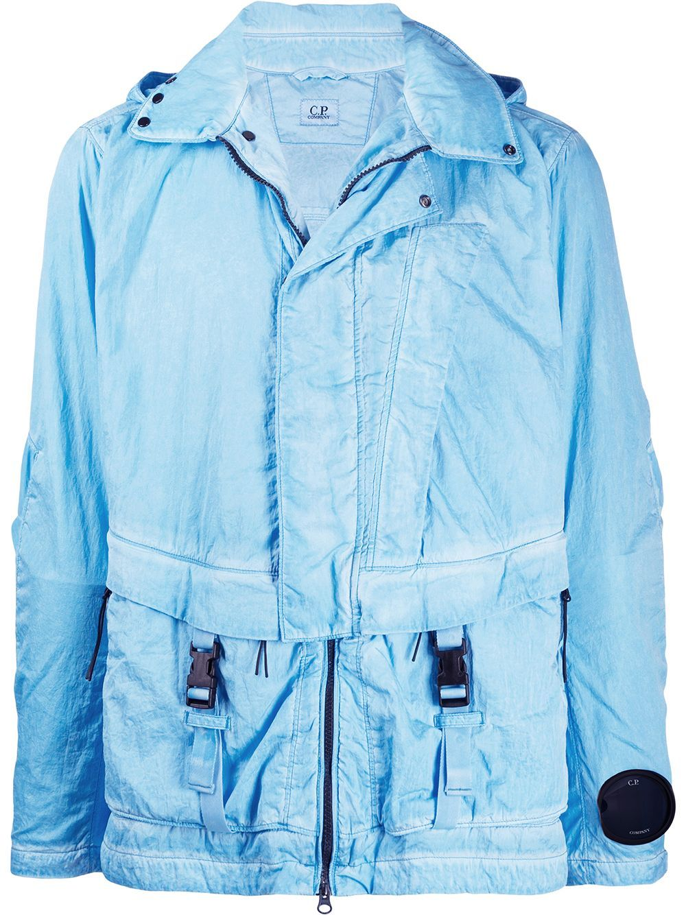 C.P. COMPANY lightweight hooded jacket blue