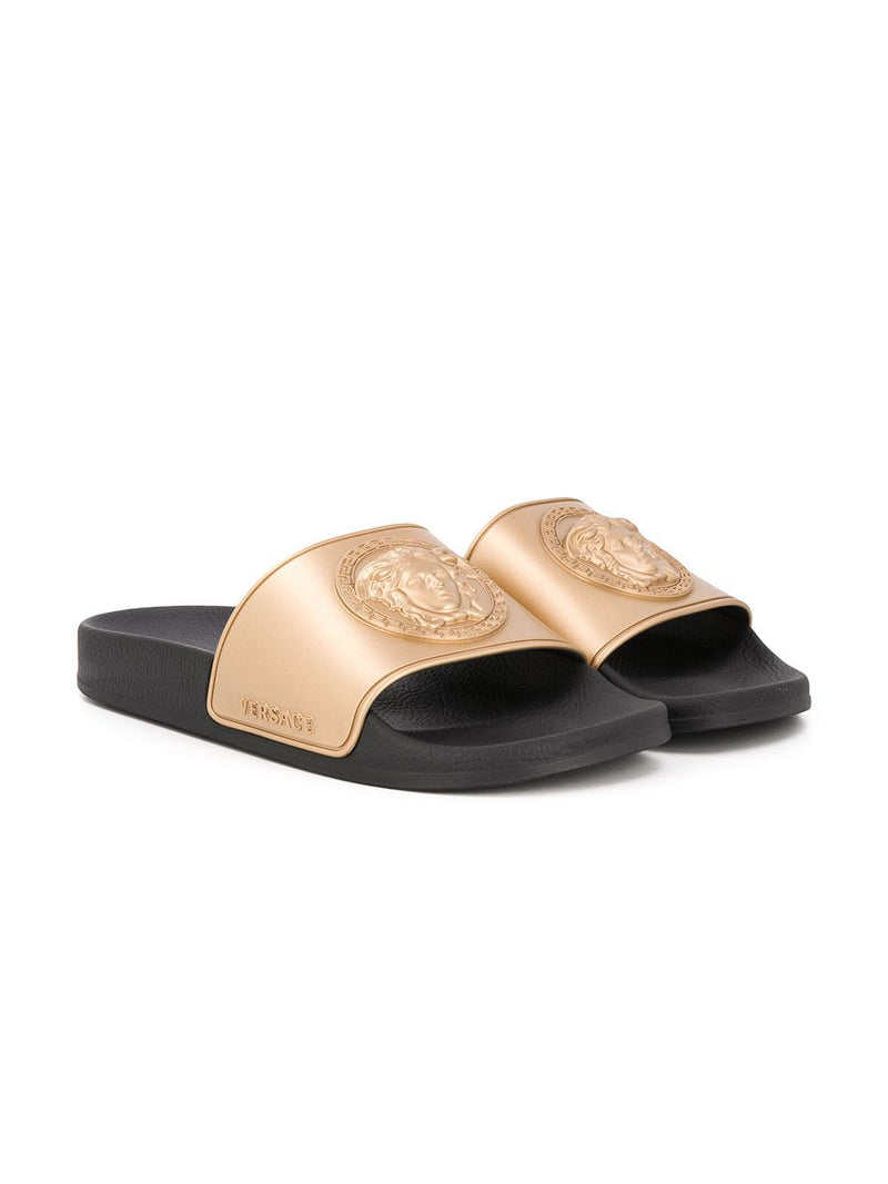 VERSACE KIDS Medusa logo slides Black/Gold