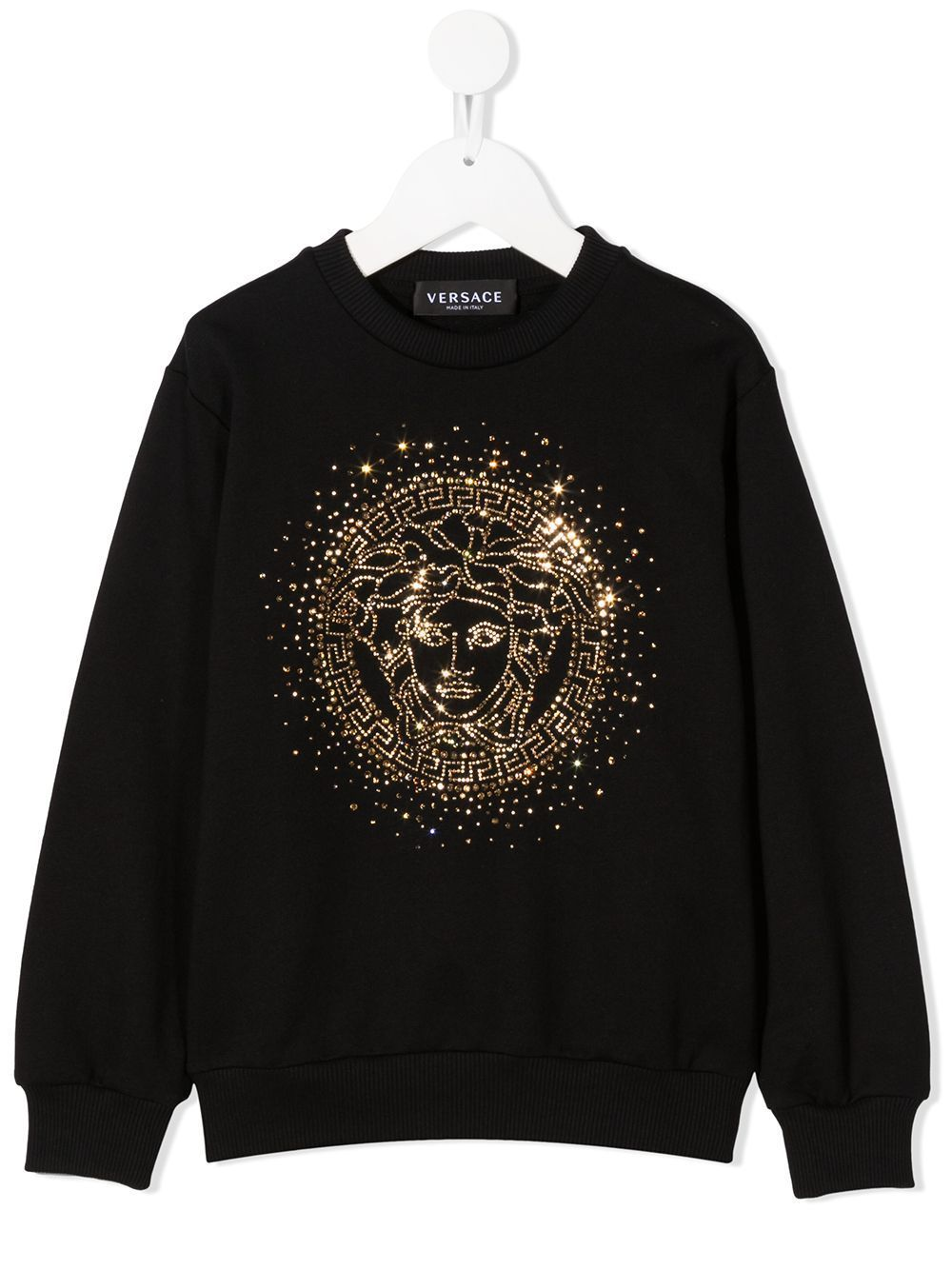 VERSACE KIDS Medusa Embellished Sweatshirt Black - Maison De Fashion