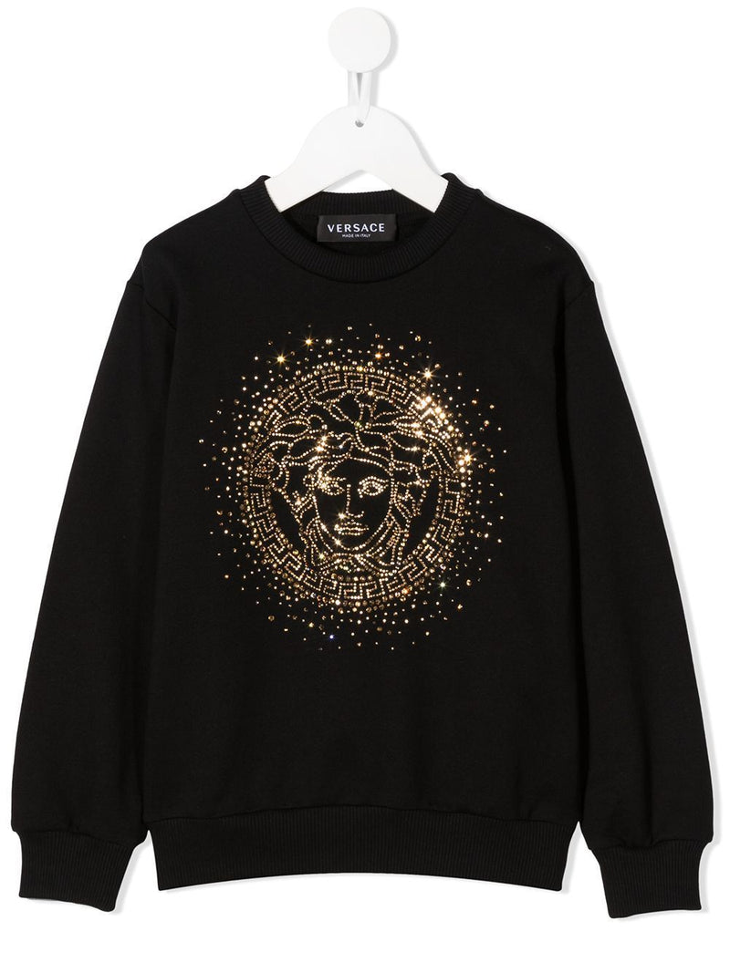 VERSACE KIDS Medusa Embellished Sweatshirt Black