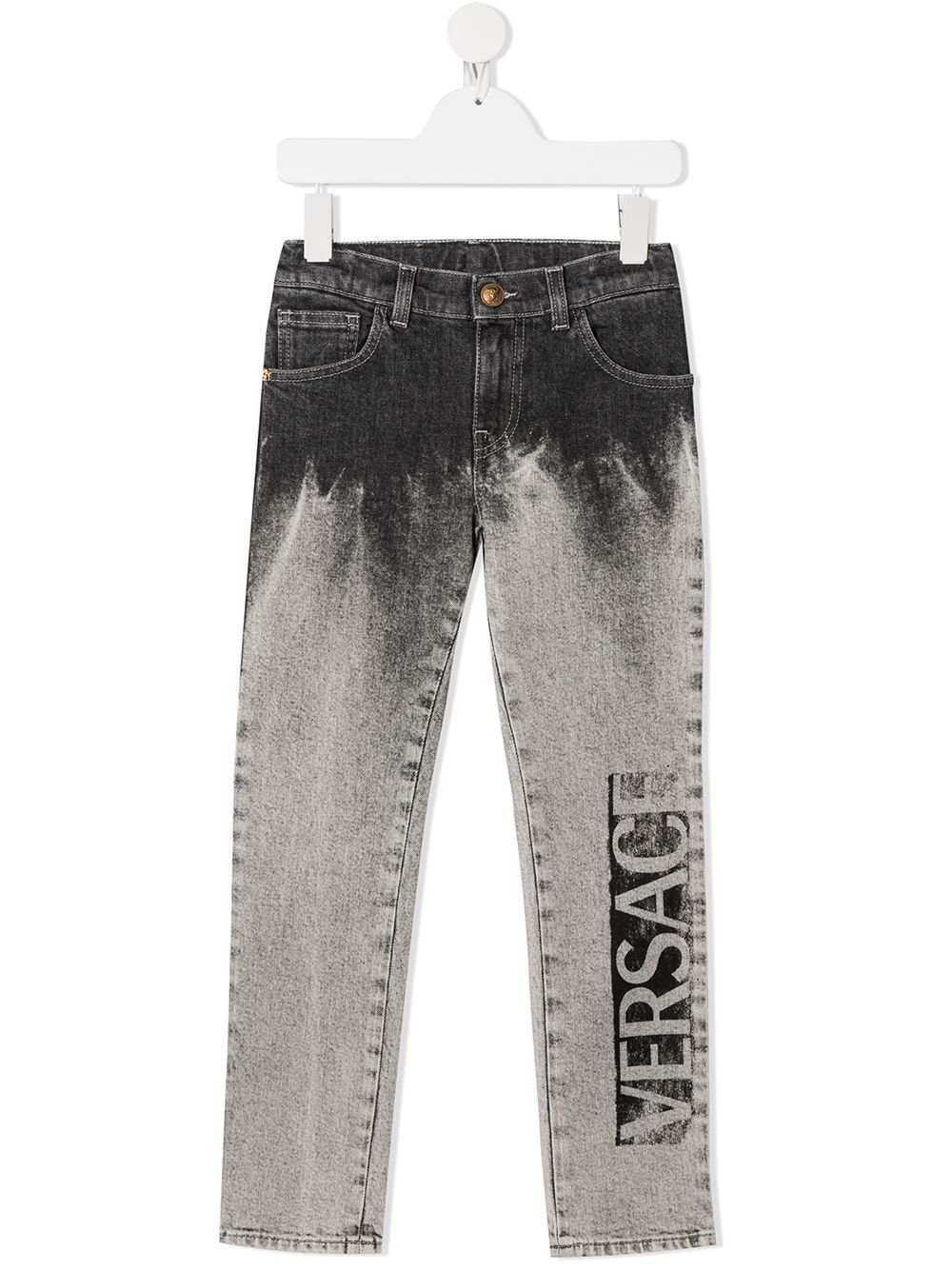 VERSACE KIDS Logo Light Wash Jeans