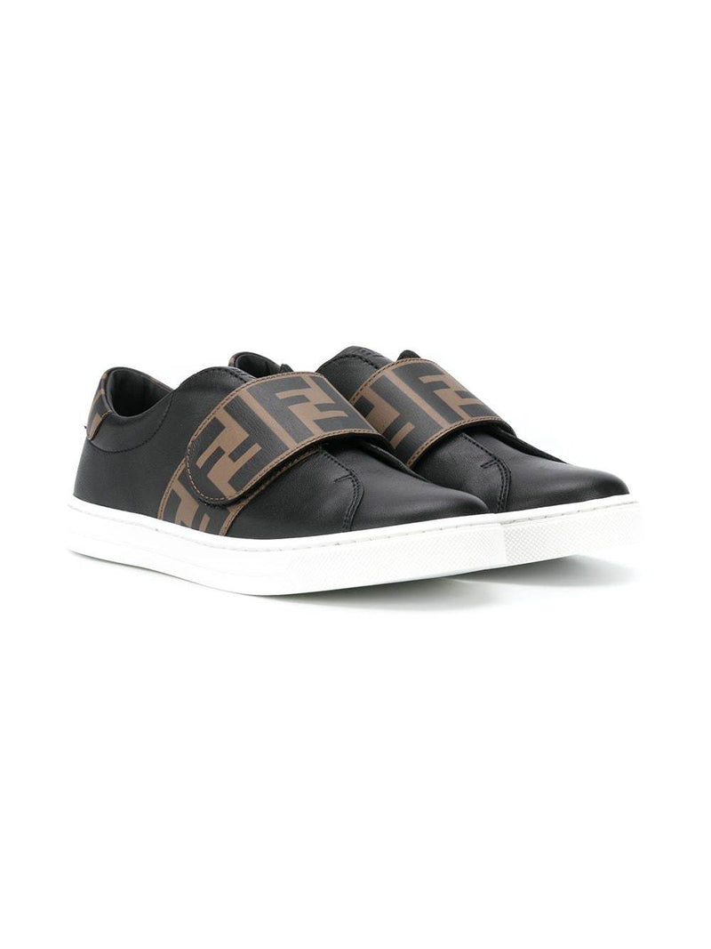 FENDI KIDS FF Logo Strap Sneakers Black