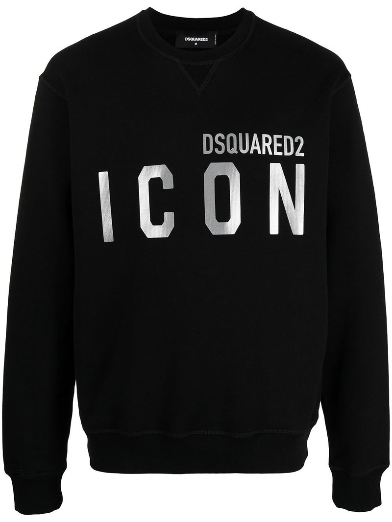 DSQUARED2 Reflective Icon Logo Print Sweatshirt Black