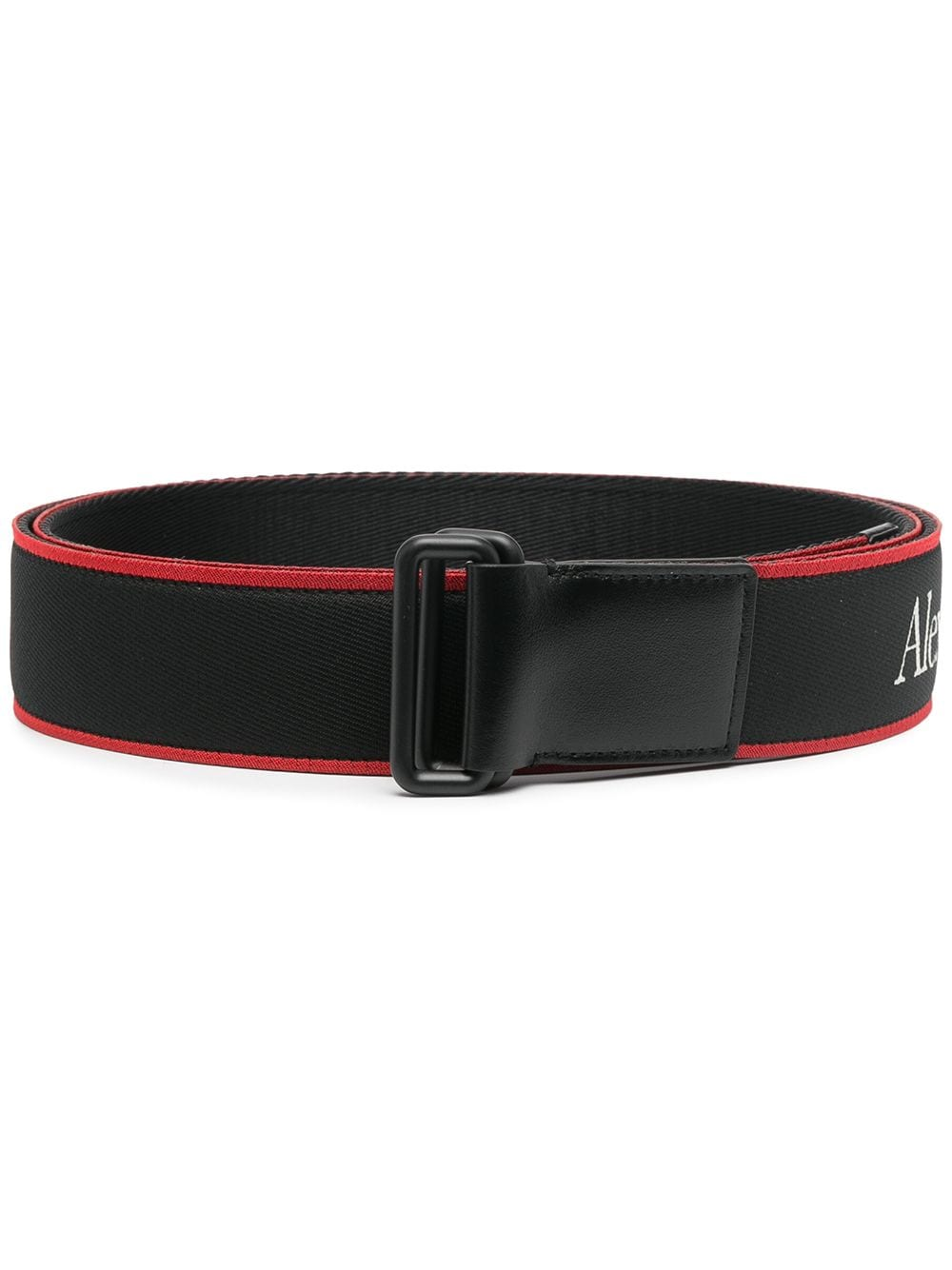 ALEXANDER MCQUEEN Logo Print Adjustable Belt Black/Red - Maison De Fashion