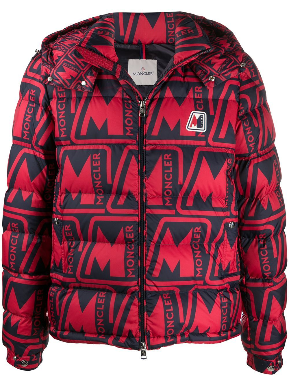 Moncler logo-print padded jacket red/black