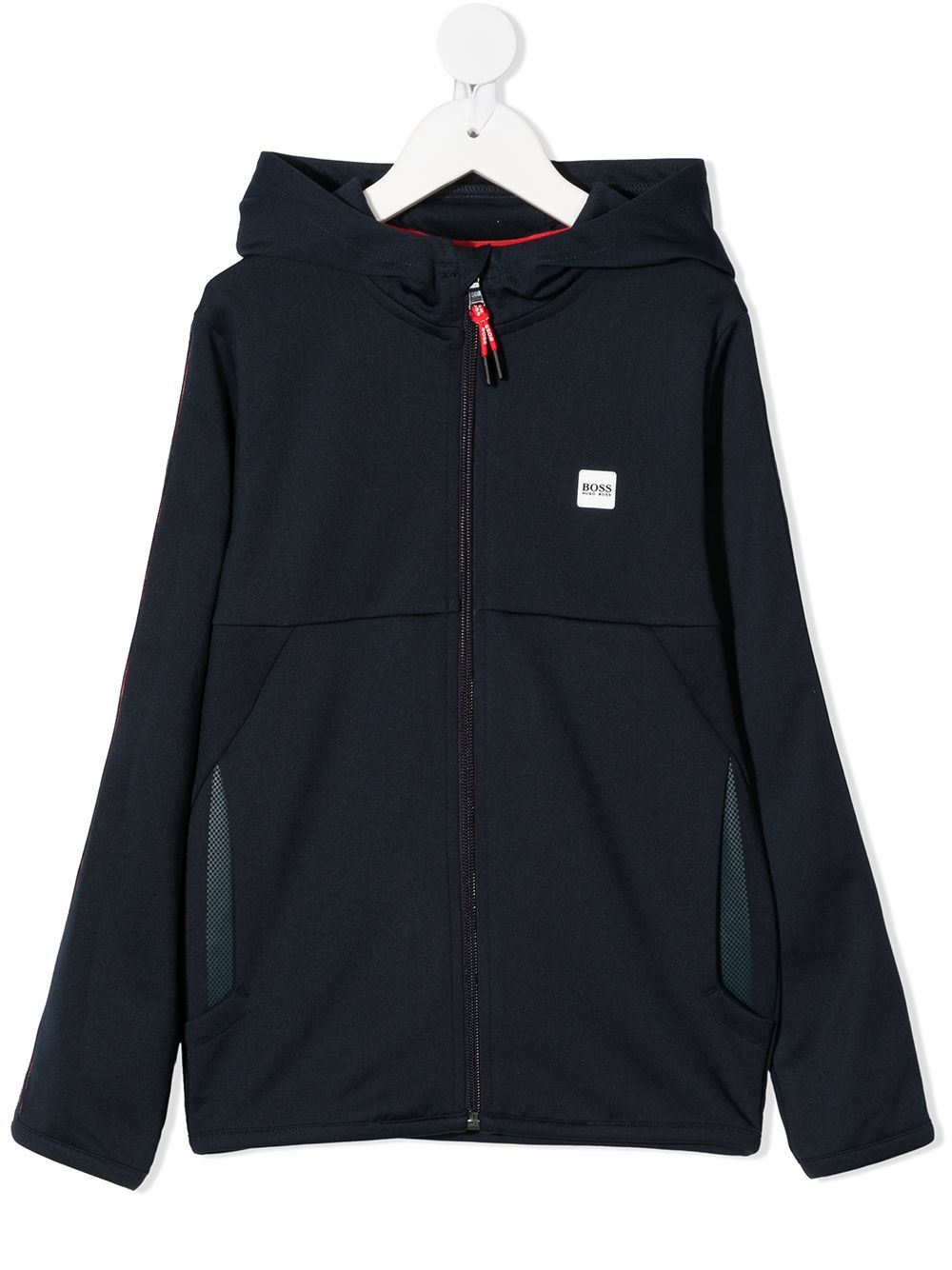 BOSS KIDS  Logo-patch zip-up hoodie Navy