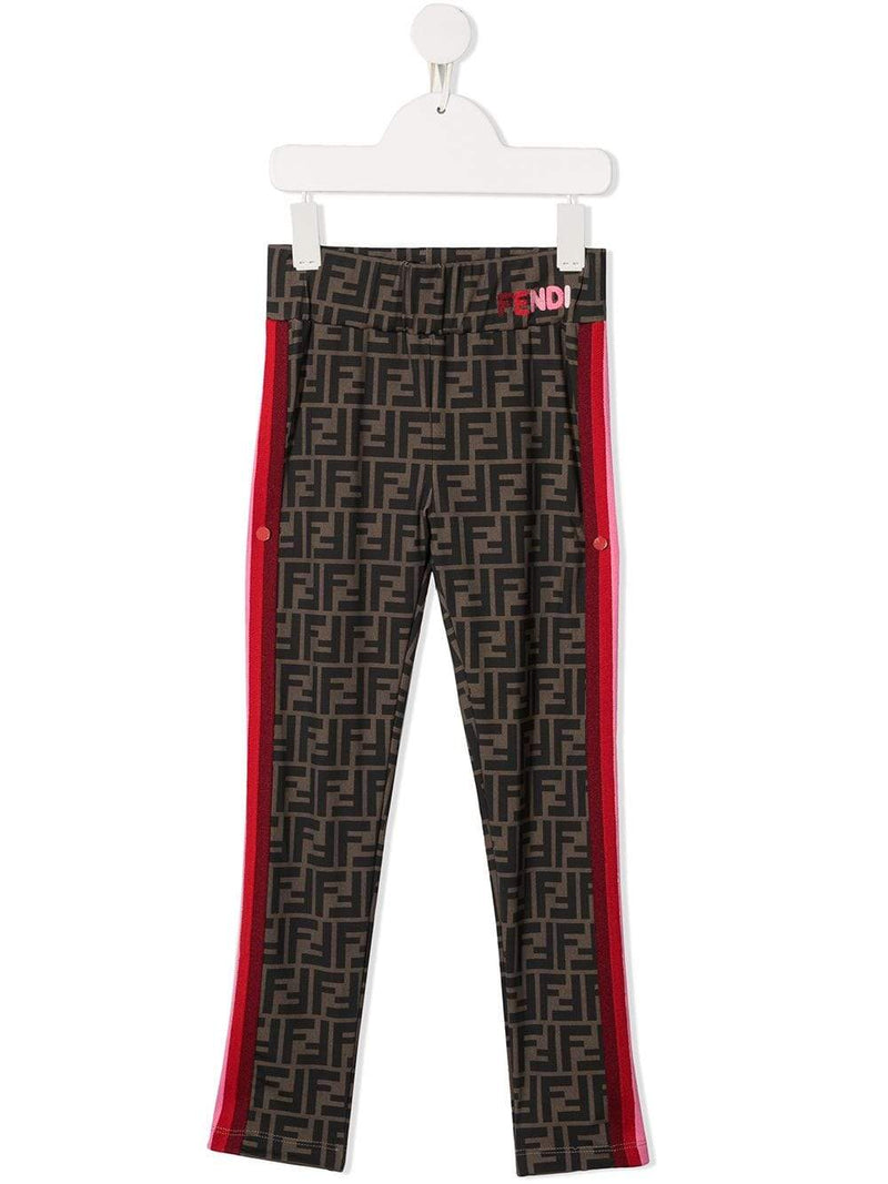 FENDI KIDS FF Monogram Pink Logo Leggins