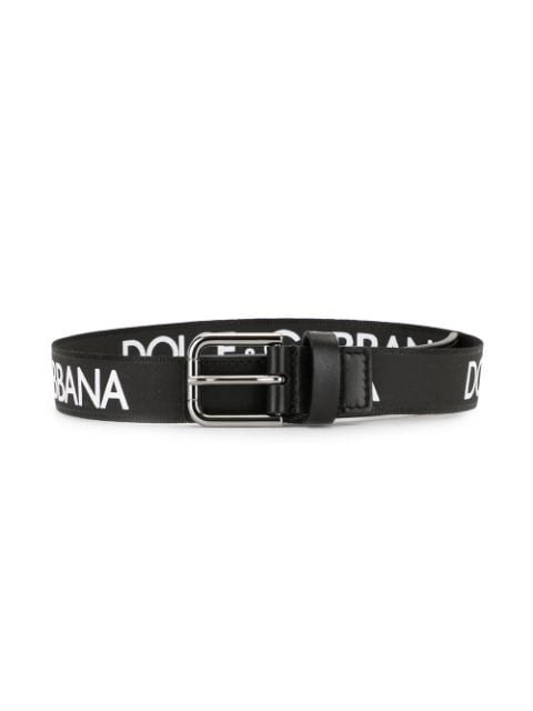 DOLCE & GABBANA KIDS logo-print belt black/white - Maison De Fashion