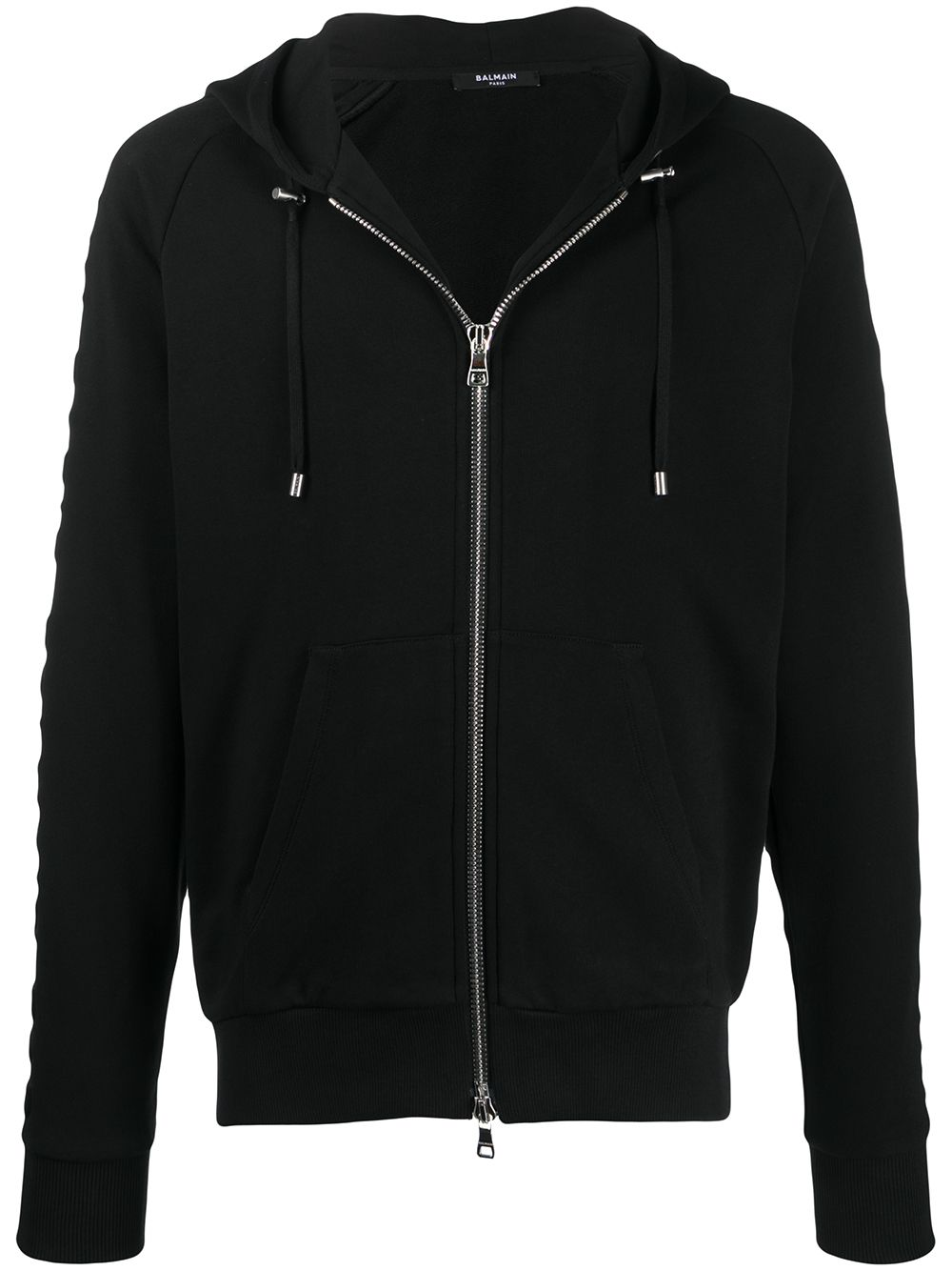 Balmain Embossed logo-panel Zipped Hoodie Black - Maison De Fashion