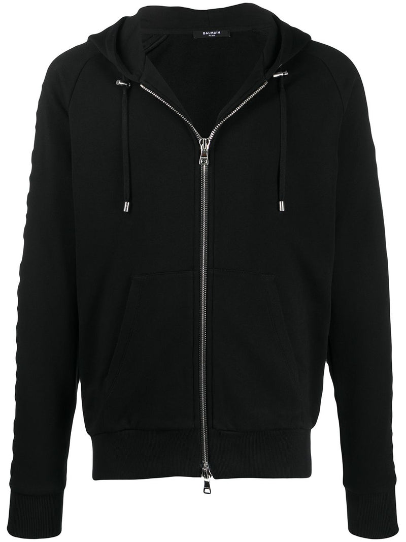 Balmain Embossed logo-panel Zipped Hoodie Black