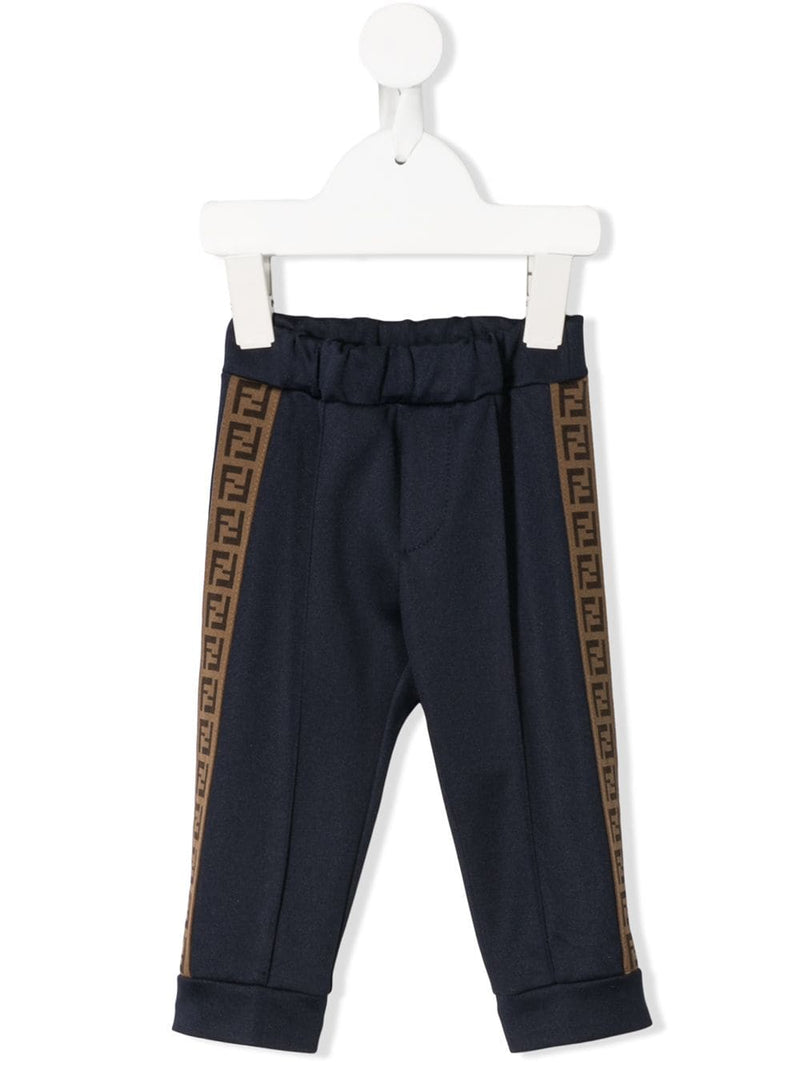 FENDI KIDS baby tape logo sweat pants navy