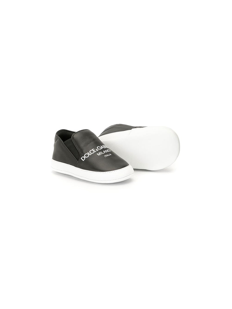 DOLCE & GABBANA KIDS Logo Print Sneakers Black - Maison De Fashion