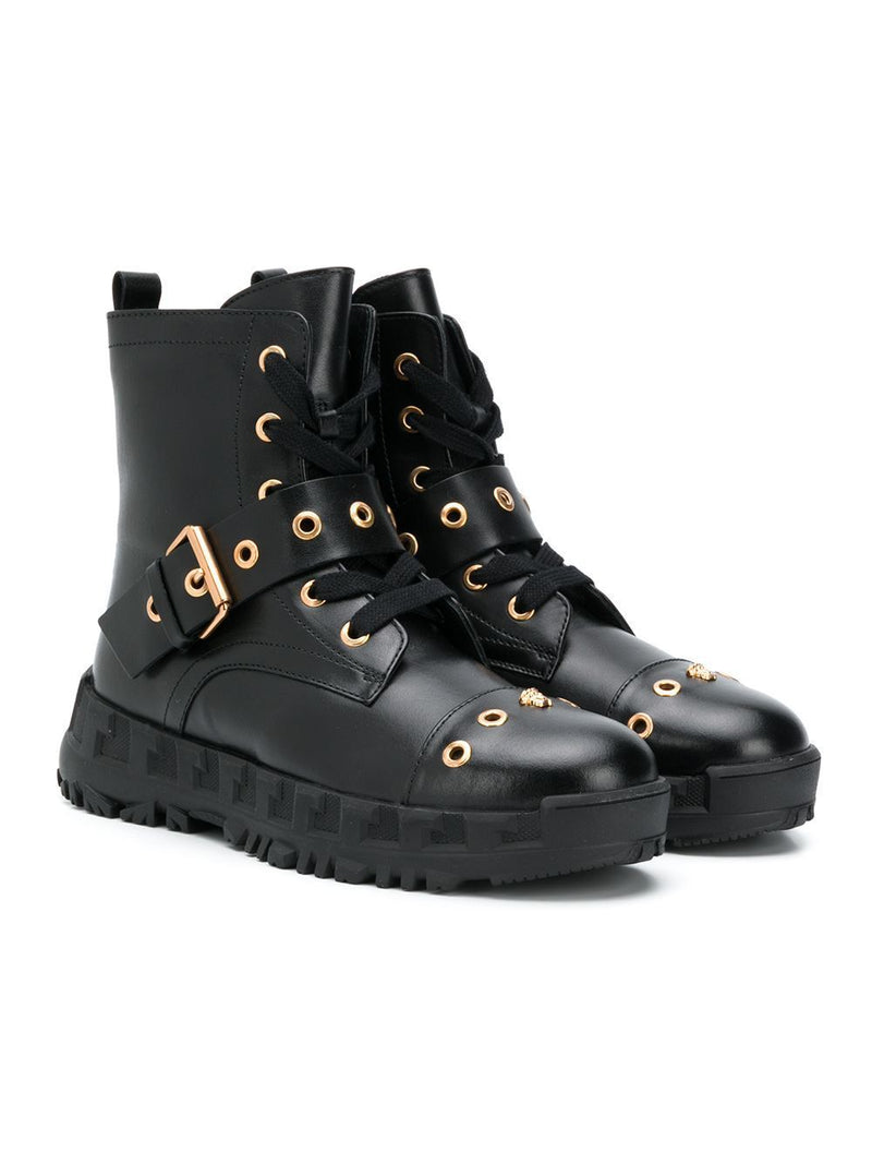 VERSACE KIDS Buckle Embellished Combat Boots Black - Maison De Fashion