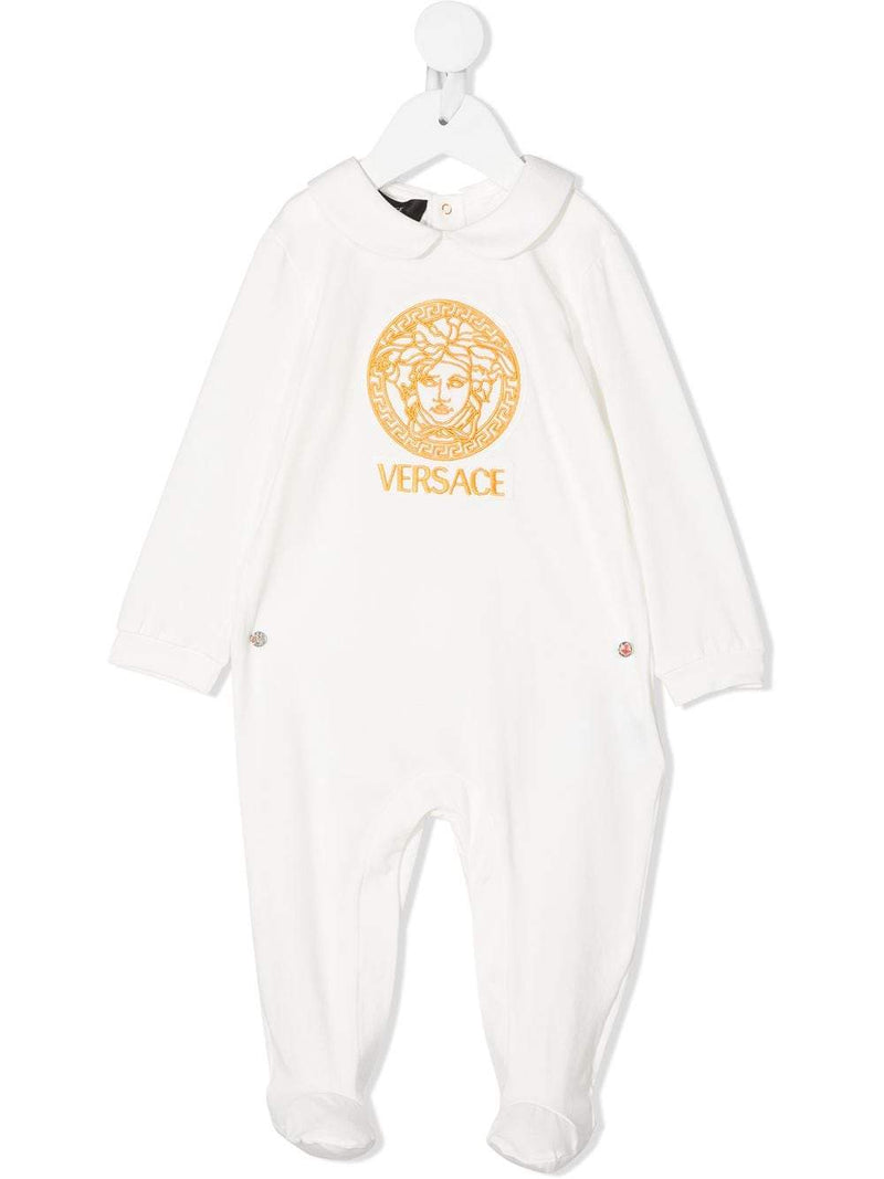 VERSACE KIDS Medusa Embroidered Babygrow  White/Gold