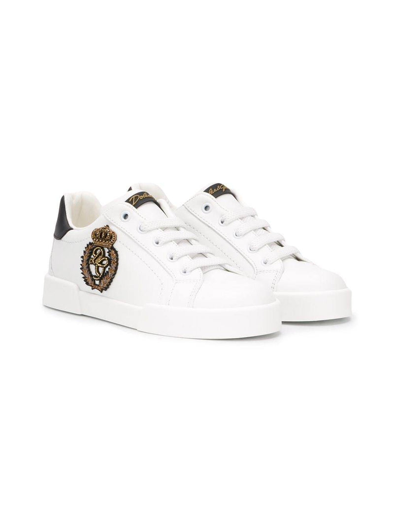 DOLCE & GABBANA KIDS Patch-embellished sneakers White