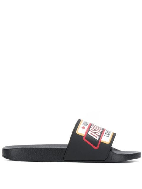 DSQUARED Logo Patch Sliders Black