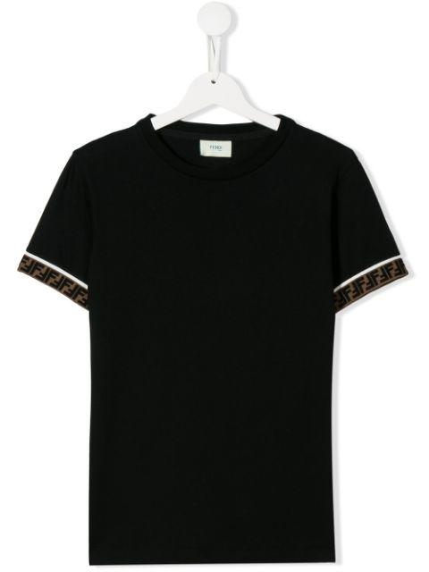 FENDI KIDS Logo Tape T-shirt Black