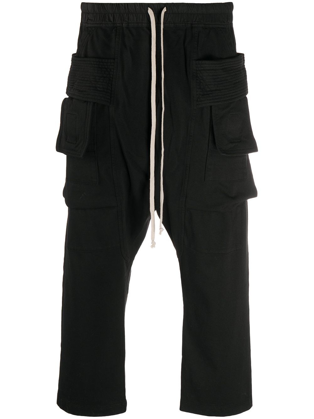 RICK OWENS DRKSHDW Cropped Drawstring Trousers Black