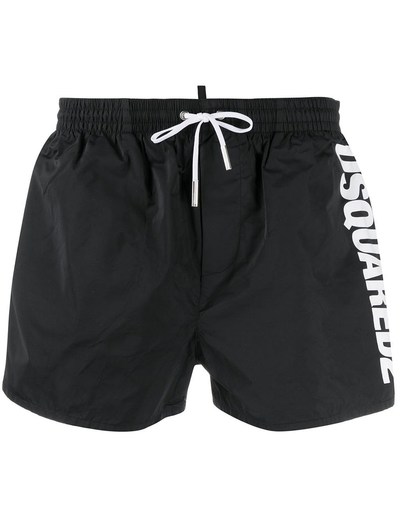 DSQUARED2 side logo print swim shorts black/white