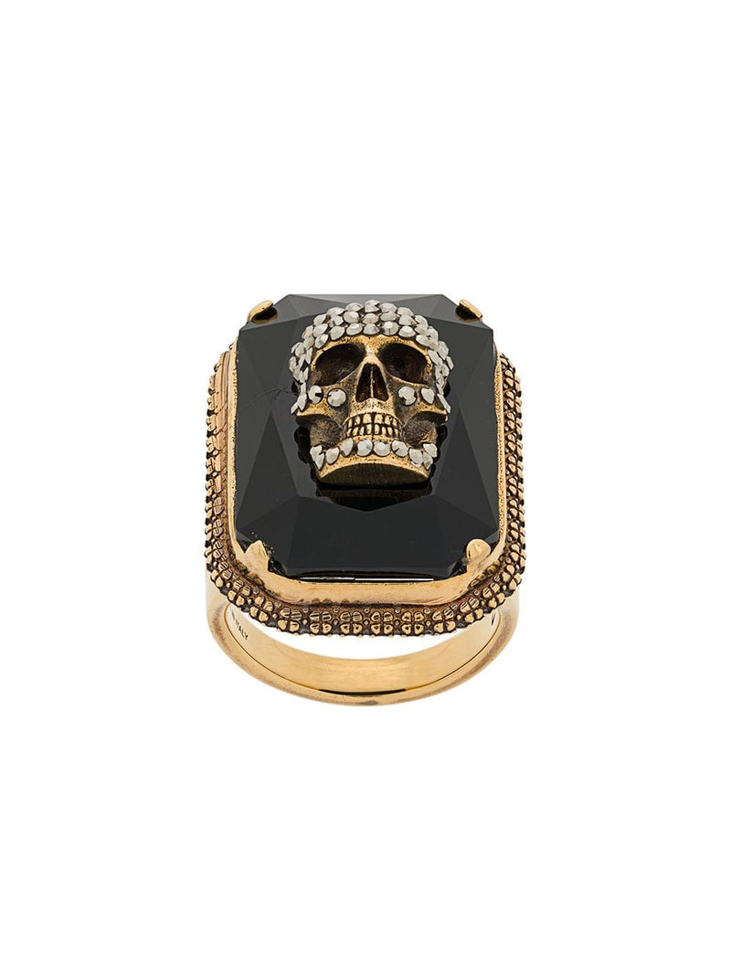 ALEXANDER MCQUEEN skull on crystal ring gold/black