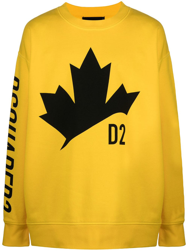 DSQUARED2 Logo Print Sweatshirt Yellow