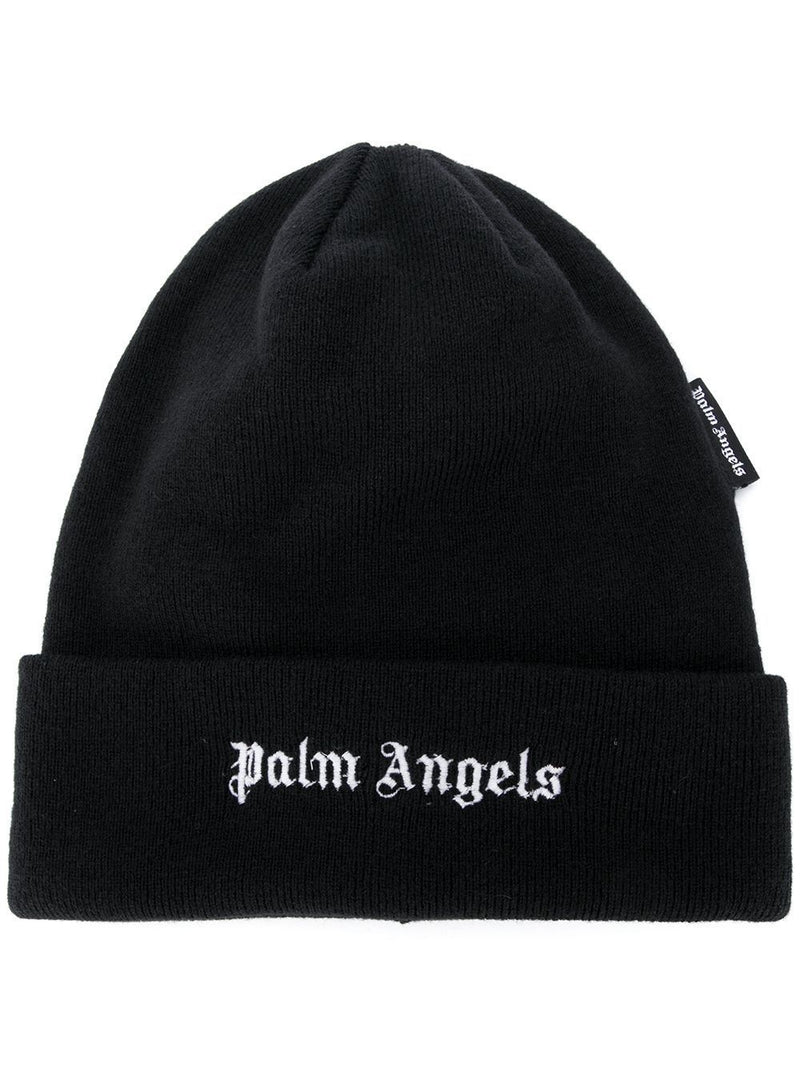 PALM ANGELS Logo Embroidered Beanie Black