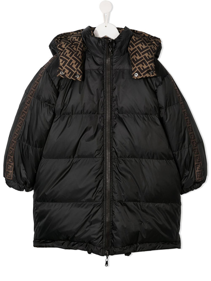 FENDI KIDS Reversible FF Monogram Coat Brown/Black