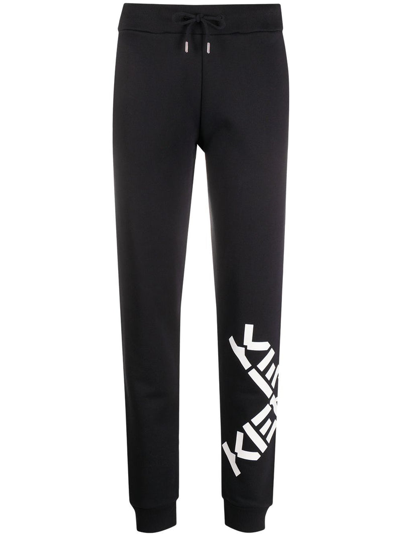 KENZO Womens Cross Logo Joggers Black