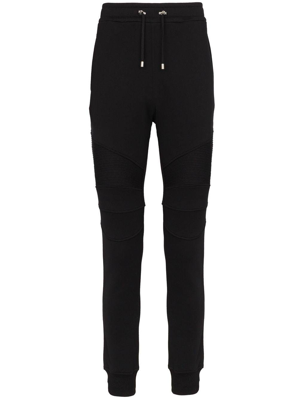 BALMAIN ribbed sweatpants with back logo black - Maison De Fashion