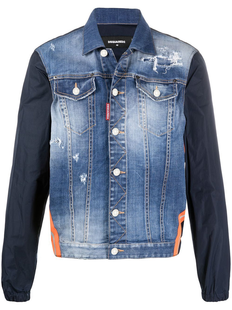 DSQUARED2 Contrast Sleeve Denim Jacket Blue