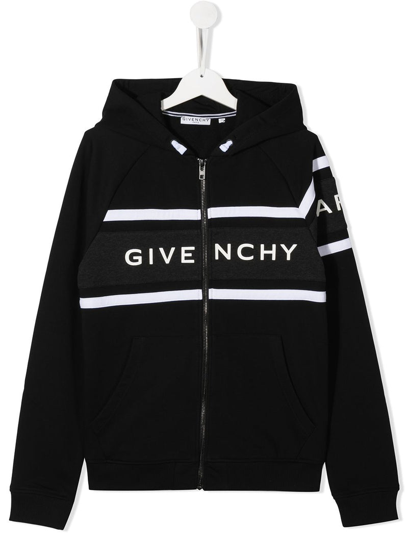 GIVENCHY KIDS Striped Logo Zipped Sweatshirt